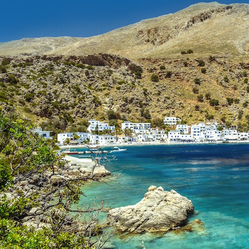 The picturesque harbour of Loutro
